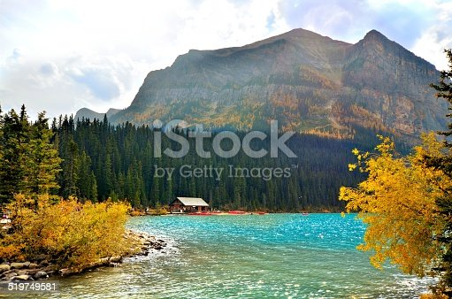 View at Lake Louise, Banff National Park, Canada with autumn colors