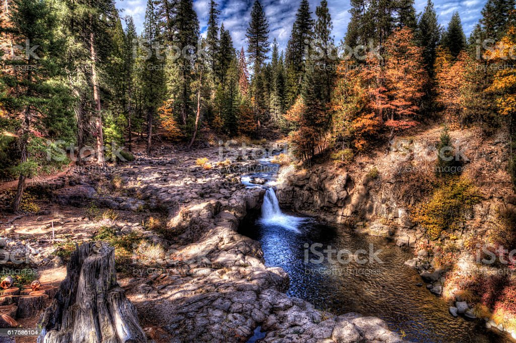 Autumn at McCloud Falls stock photo