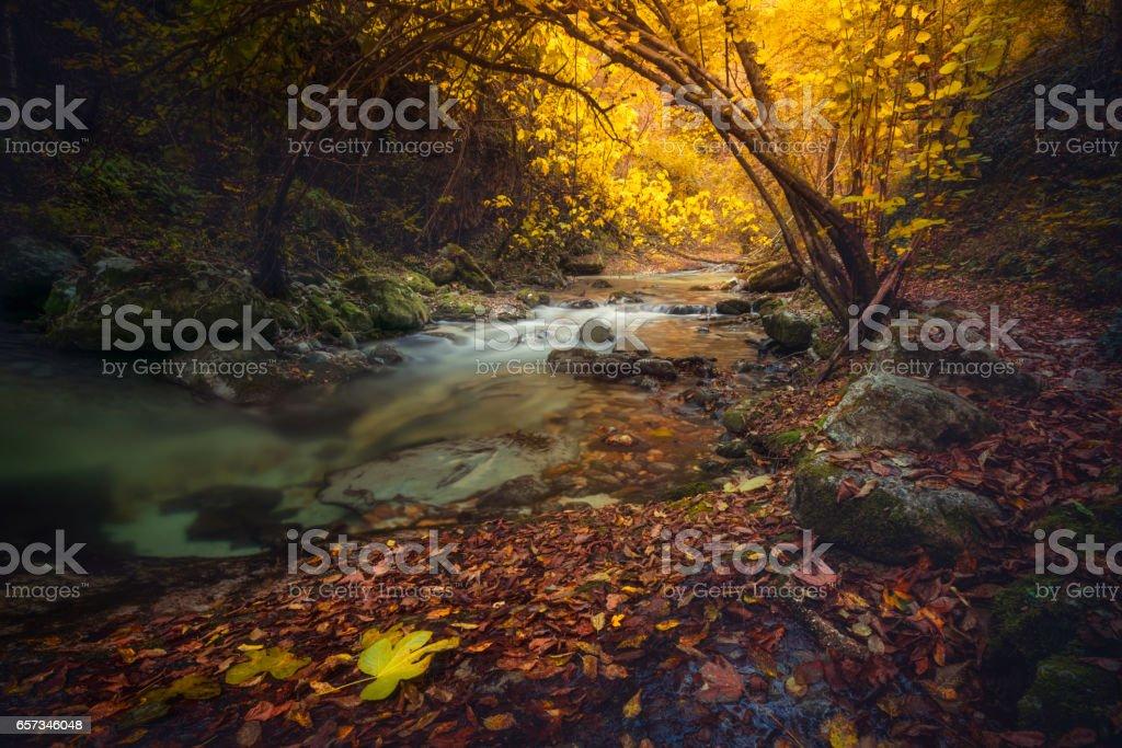 Otoño en el valle de Orfento, Caramanico Terme, Pescara, Abruzzo, Italia - foto de stock