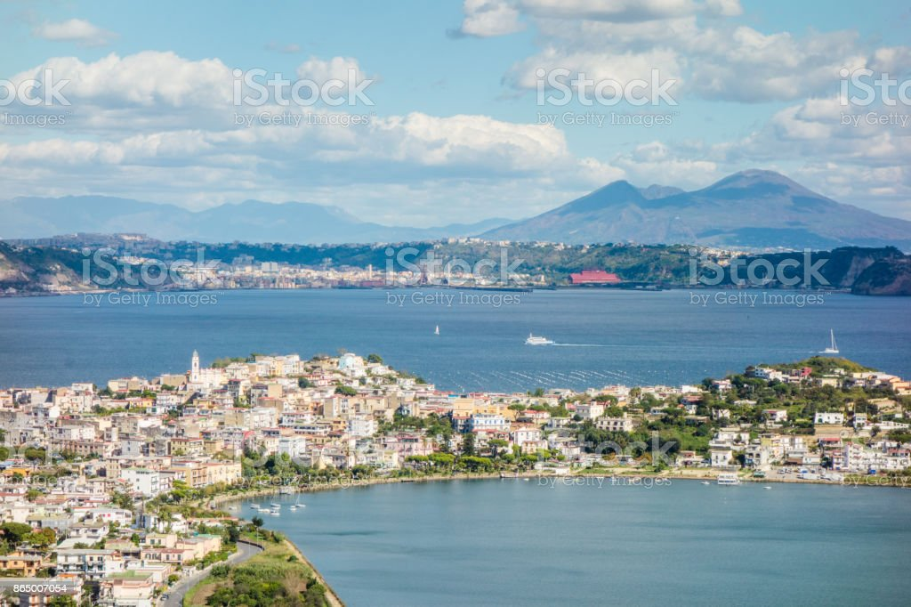 Autumn at sea in the Bay of Naples stock photo