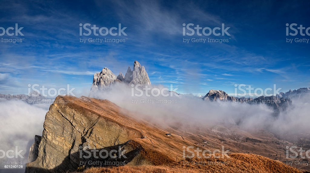 Autumn at Seceda in south Tirol stock photo
