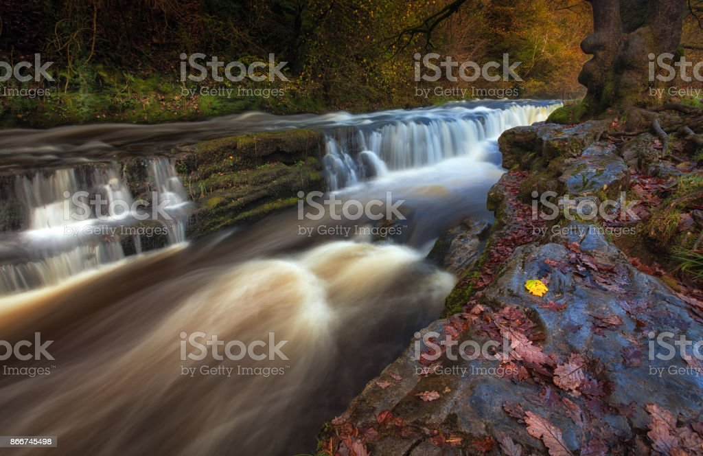 Autumn at Sgwd y Pannwr Waterfalls stock photo