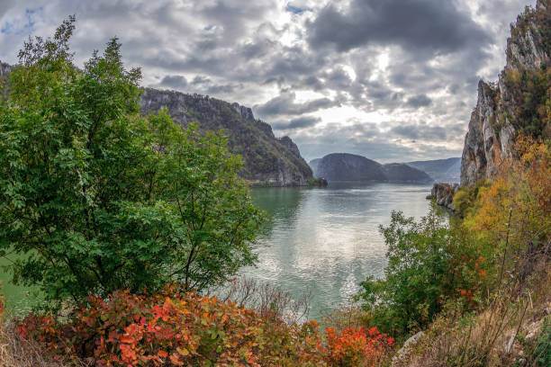 Autumn at the Danube Gorges, border between Romania and Serbia stock photo