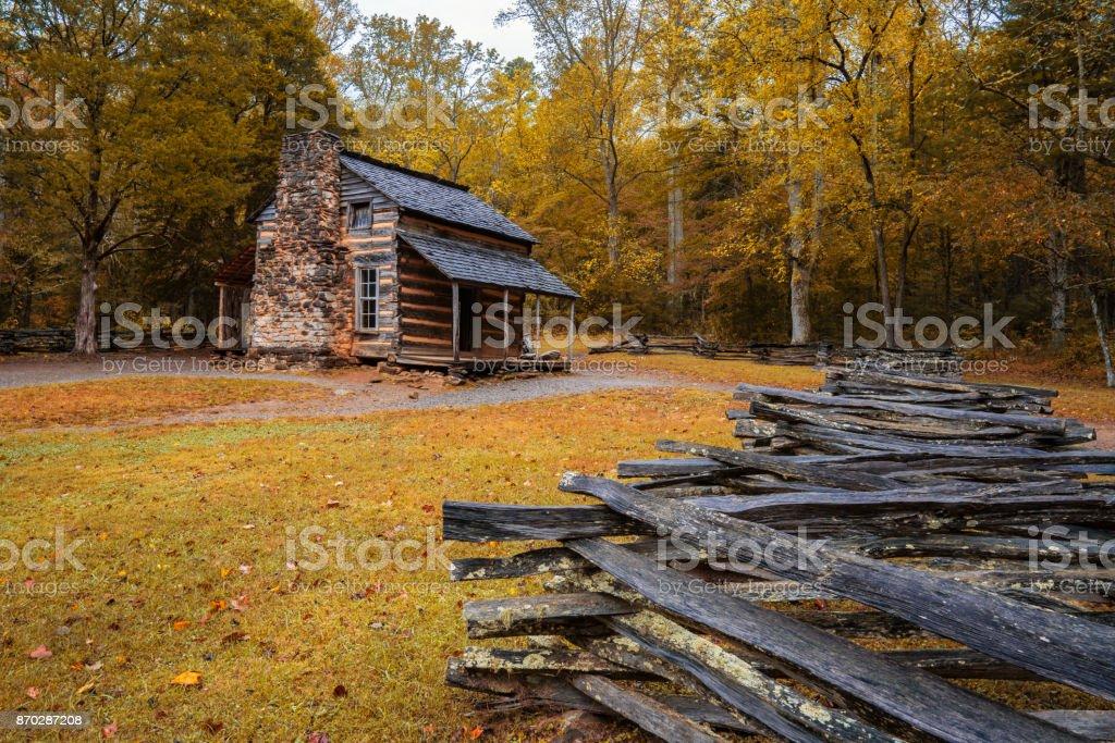 Autumn at the John Oliver Cabin stock photo