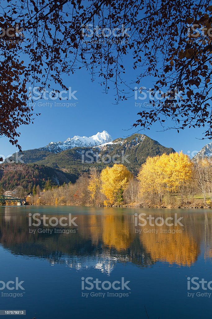 autumn at the river lech in tirol -austria stock photo