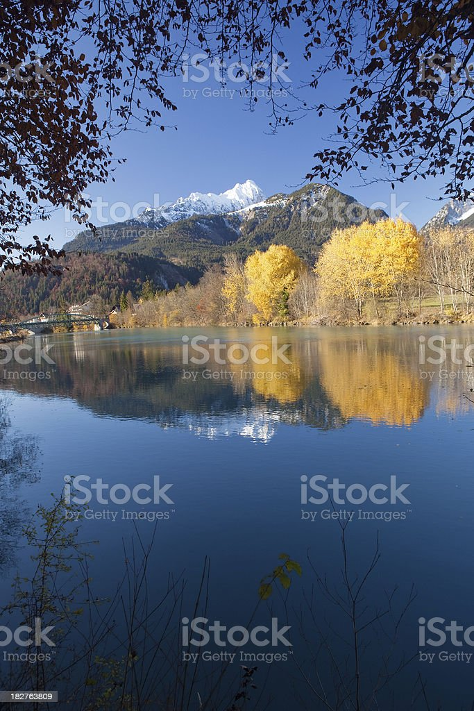 autumn at the river lech in tirol -austria stock photo