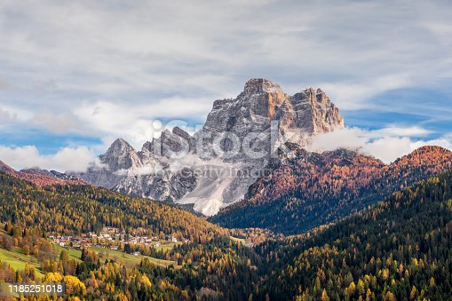 Italy, Mt Pelmo, Valley, Autumn, Church