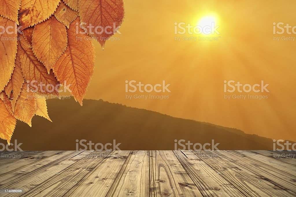 autumn backdrop with wooden terrace royalty-free stock photo