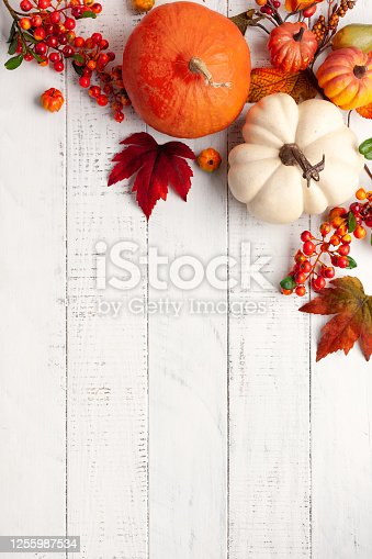istock Autumn background from fallen leaves and pumpkins on wooden vintage table 1255987534