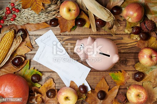 Hello autumn. autumn background with wheat heads, corn, piggy bank, store receipts, pumpkin, apples, rowan, chestnuts and leaves on wooden planks.