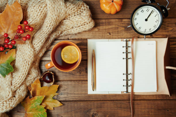 autumn background on wooden planks
