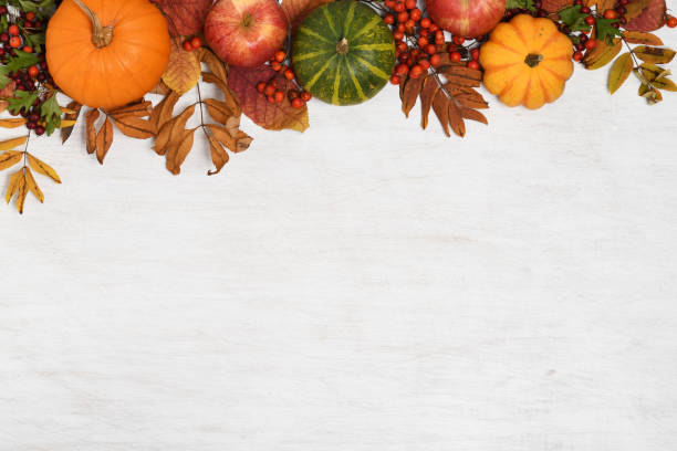 autumn background frame of autumnal fruits and vegetables on white wooden background fall background stock pictures, royalty-free photos & images