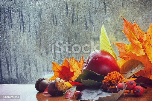 istock Autumn background, rainy window, colorful leaves 613025984
