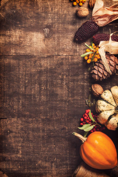 Autumn background. Thanksgiving, harvest, halloween concept flat lay