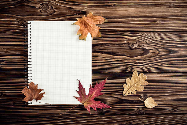autumn background with blank for notes - folha de caderno imagens e fotografias de stock