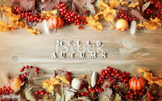 istock Autumn background with Hello Autumn letters 846823666