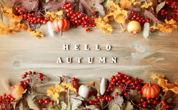 Autumn background with Hello Autumn letters stock photo