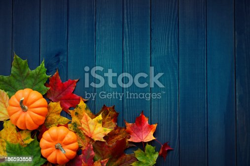 Autumn background with maple leaves and pumpkins on turquoise-blue woods