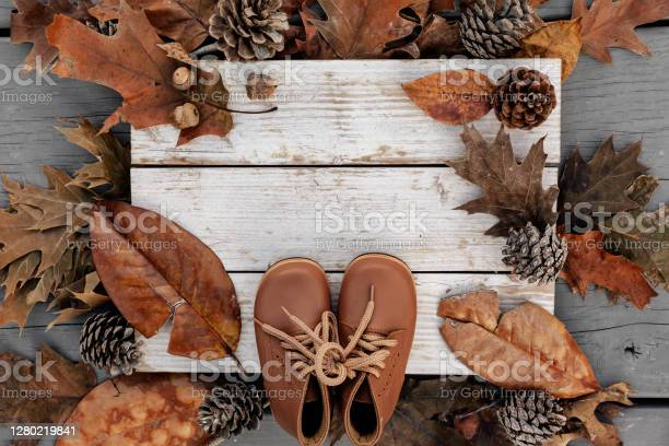 Autumn Background With Natural Leaves Pine Cones And Leather Shoes On Aged Wood With Copy Space Stock Photo - Download Image Now