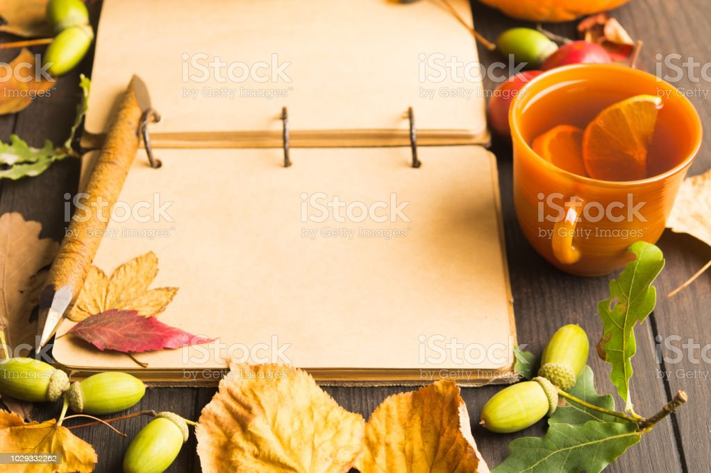 Autumn background with open vintage notebook with pen, hot tea with lemon and dry leaves stock photo