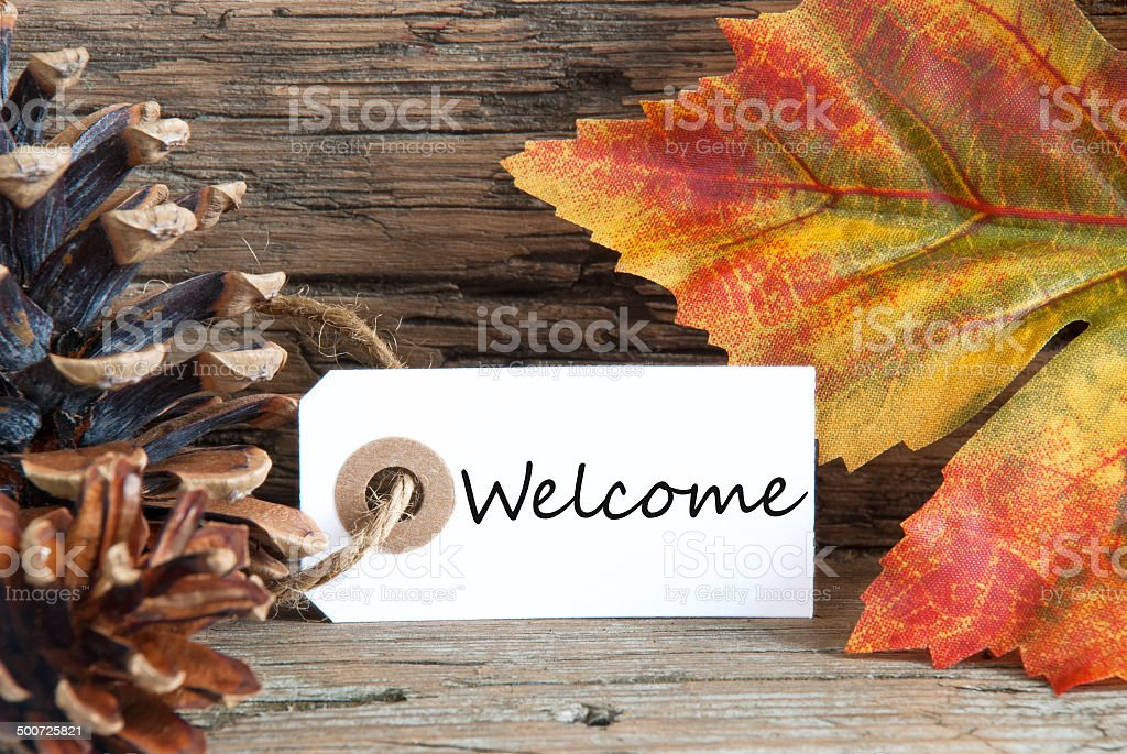Autumn Background with Welcome Label stock photo