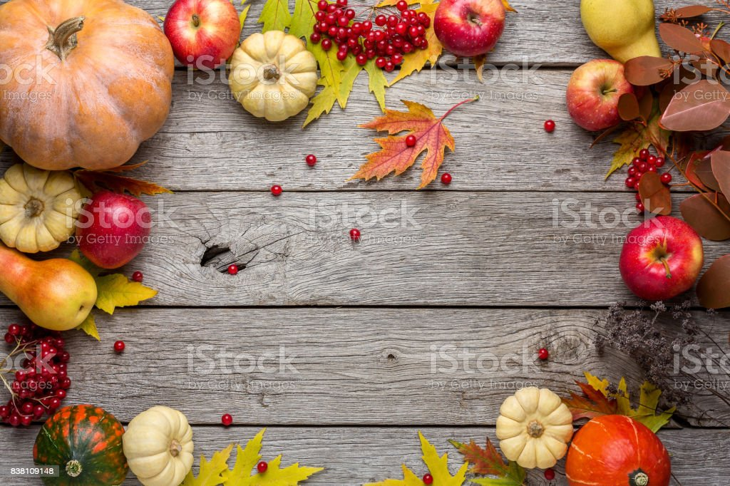 Autumn background with yellow leaves and pumpkins stock photo