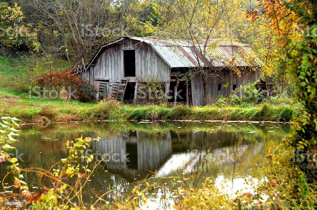 Autumn Barn in Arkansas stock photo