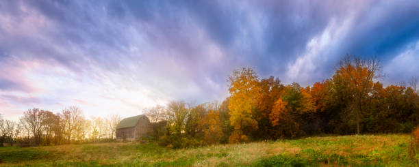 Autumn Barn, Madison, Wisconsin, USA Sunset creates vibrant fall colors on this abandoned barn. dane county stock pictures, royalty-free photos & images