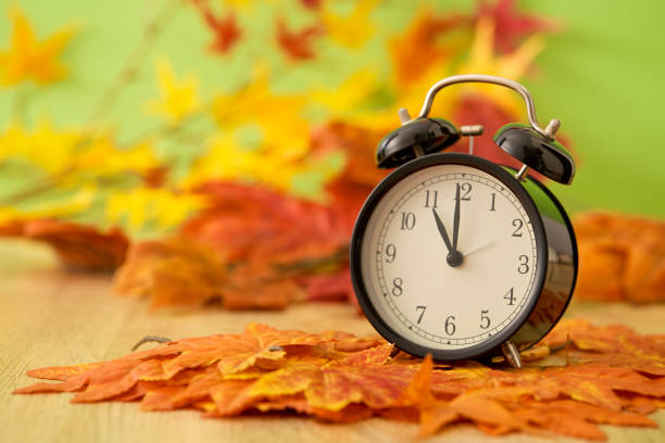 Autumn Black vintage clock with dried maple leaves on wooden Black vintage clock with dried maple leaves on green background time zone stock pictures, royalty-free photos & images
