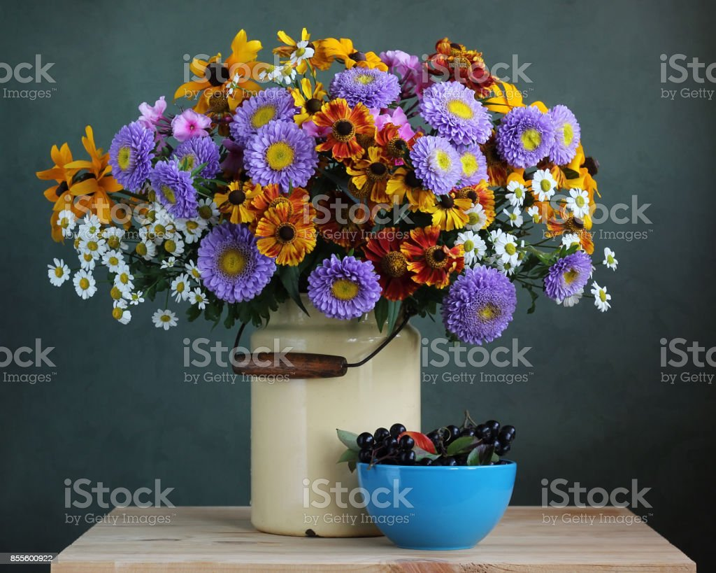 Autumn bouquet of garden flowers, and black chokeberry. stock photo