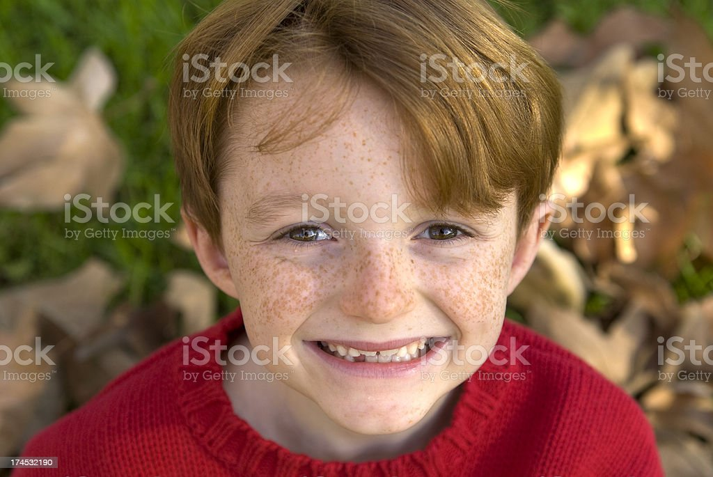 Autumn Boy Redhead & Freckle Face Child Smiling, Outdoor Christmas Portrait royalty-free stock photo