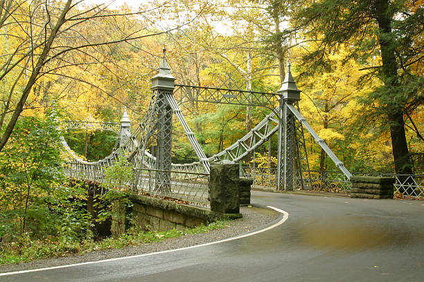 Autumn Bridge 2 - Youngstown, Ohio stock photo