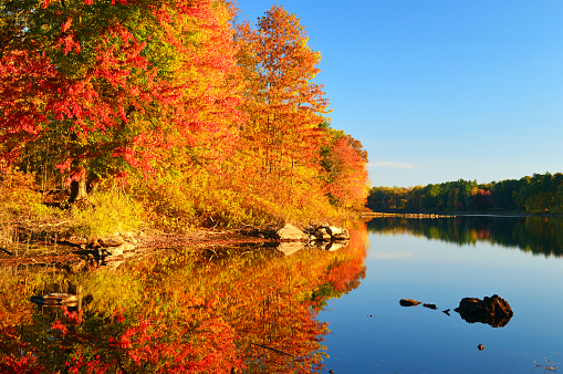Autumn colors are reflected in the cam waters of a New England lake