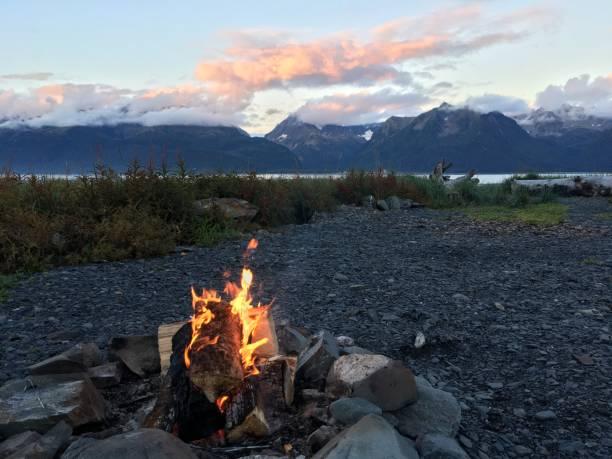 Autumn campfire stock photo