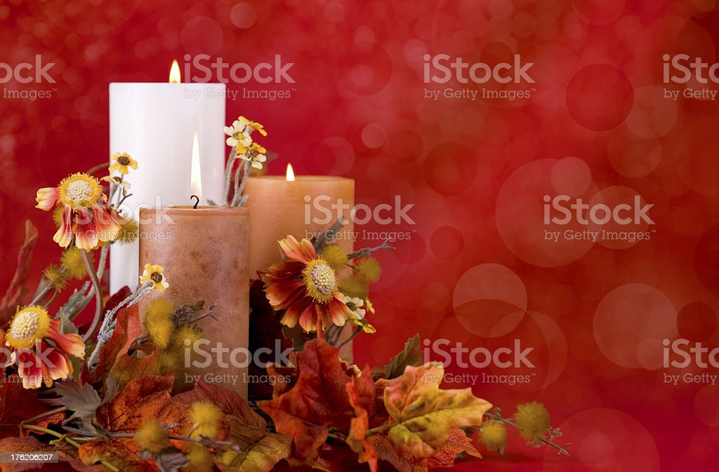 Autumn Candle Arrangement royalty-free stock photo