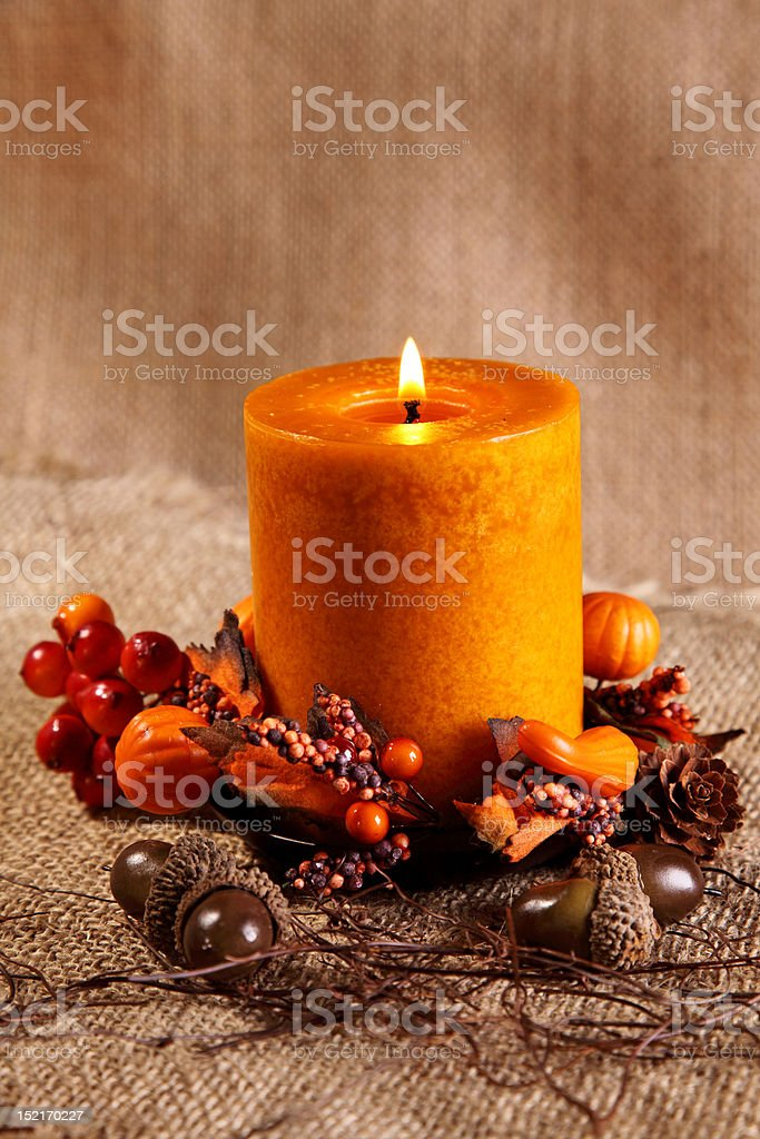 Autumn candle royalty-free stock photo