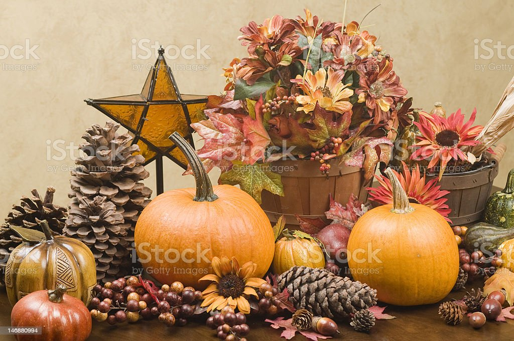 Autumn centerpiece with glass star royalty-free stock photo
