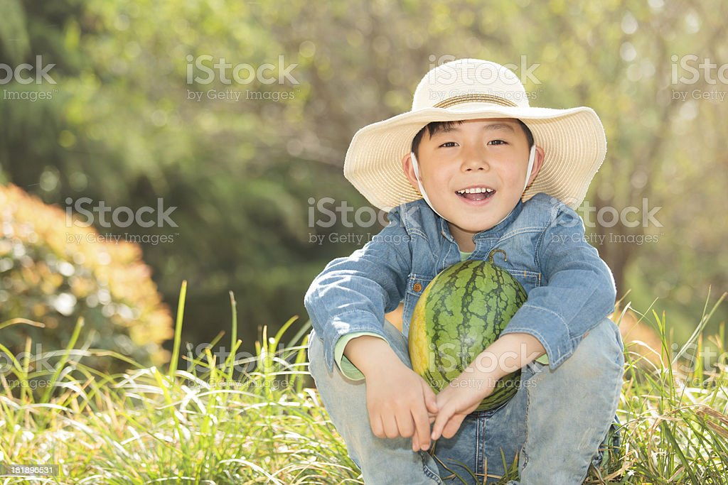 Autumn Child, Boy & Homegrown Produce, royalty-free stock photo