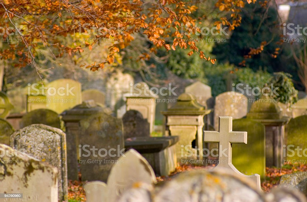 Autumn churchyard royalty-free stock photo