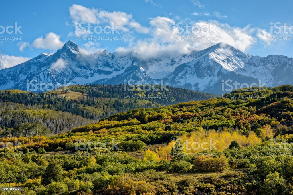 Autumn Clouds in the San Juan Mountains in Colorado. stock photo