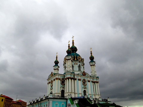 Autumn Cloudy Stormy Charming Pastel Colored Ukrainian Baroque Orthodox Church on the Hill