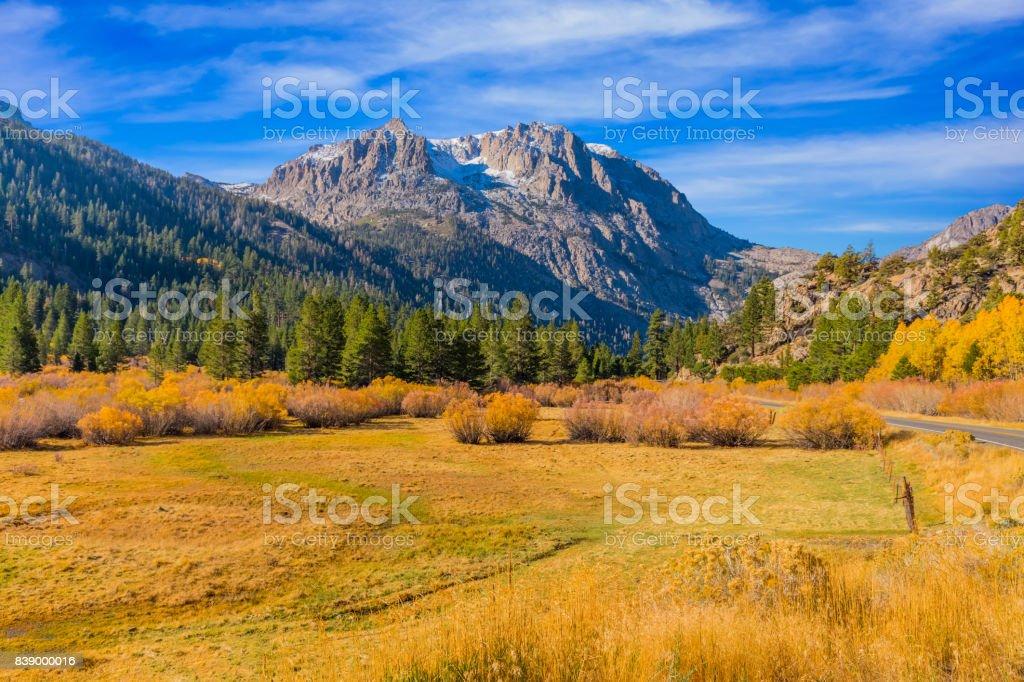 Autumn color along the June Lake Loop in Californian Sierra Nevada, CA stock photo