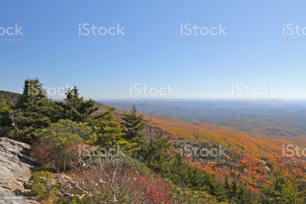 Autumn color in the Blue Ridge Mountains stock photo