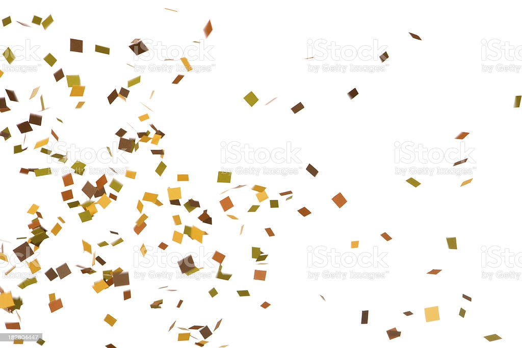 Autumn Colored Confetti Falling, Isolated on White stock photo