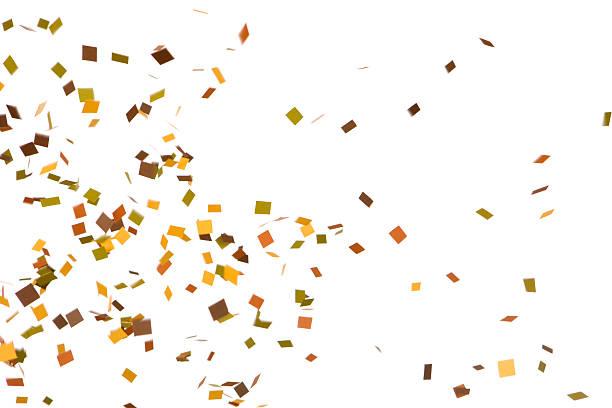 autunno colorato coriandoli cadendo, isolato su bianco - coriandoli e stelle filanti foto e immagini stock