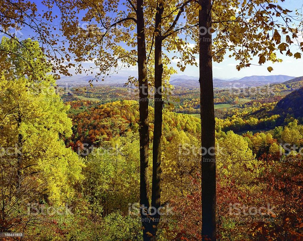 autumn colored foliage vista from the Blue Ridge Parkway Virginia stock photo