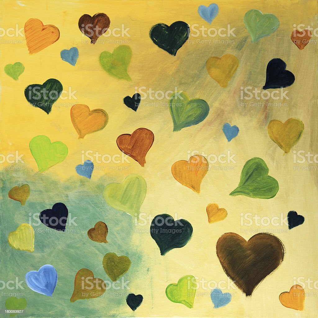 Autumn colored hearts royalty-free stock photo