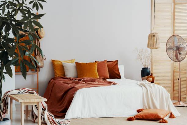 herbstfarbige kissen auf kingsize-bett in schickem schlafzimmer interieur - decke gebäudeteil stock-fotos und bilder