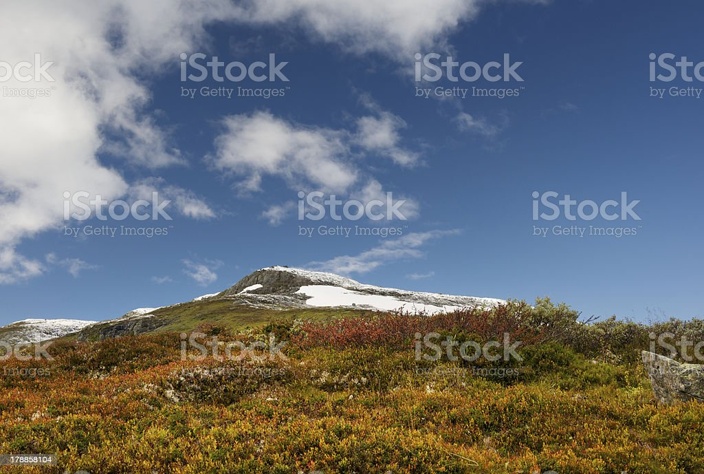 Autumn colored vegetation and mountain peak with the first snow royalty-free stock photo