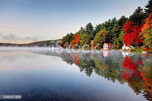 Autumn colors along Lake Mattawa in the North Quabbin Woods region of Massachusetts